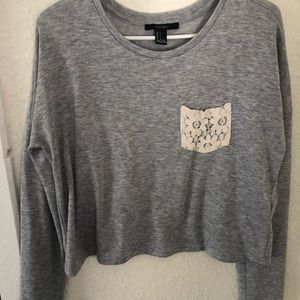 forever 21 long sleeve gray shirt with pocket